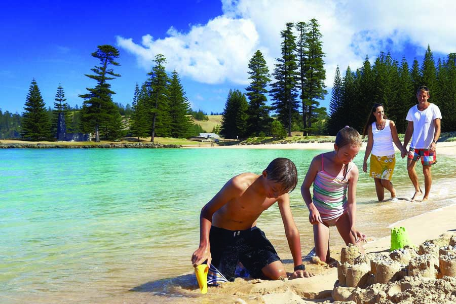 a family at emily bay on norfolk island in nsw