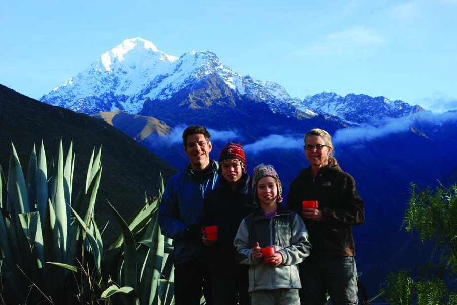 a family trekking in peru with world expeditions