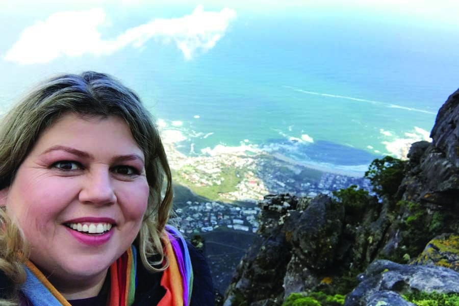 admiring the view from the top of table mountain