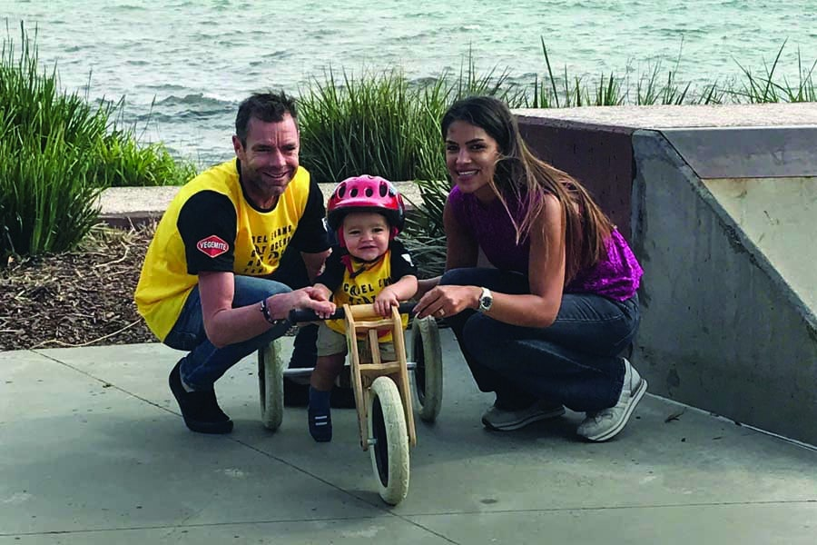 cadel evans with his son aiden and partner stefania zandonella in victoria 1