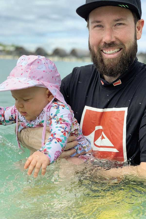 kensington going for a swim with daddy at fiji marriott resort momi bay