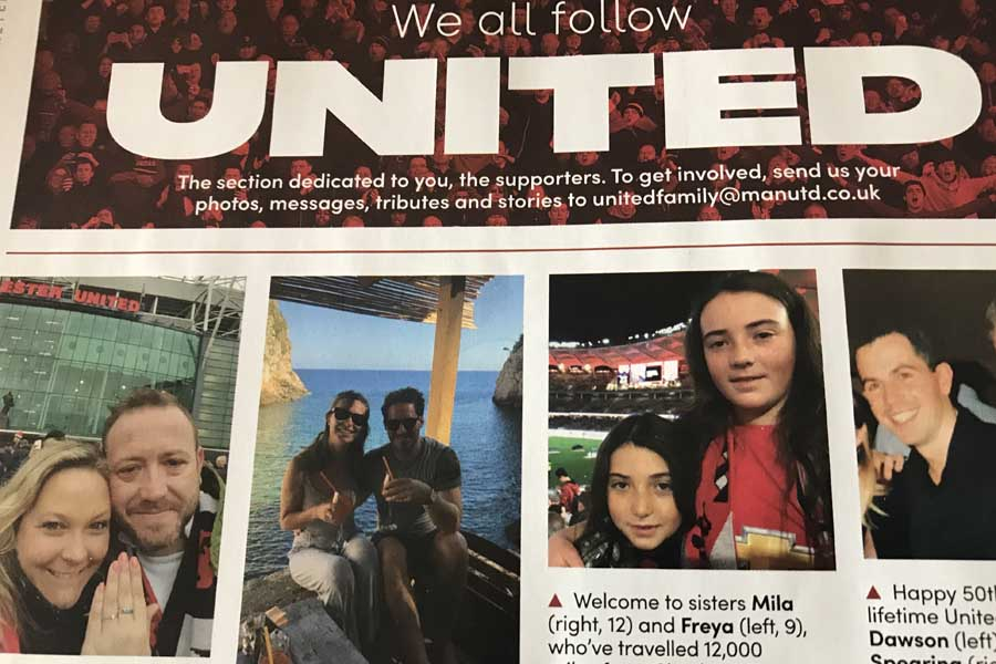mila and freya in the manchester united program