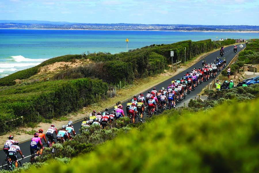riders competing in the cadel evans great ocean road race r