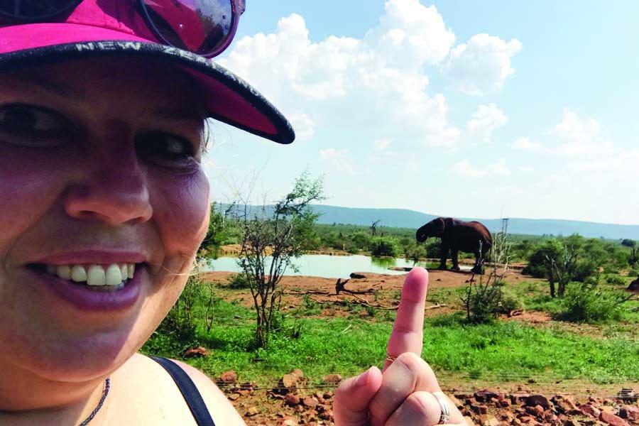 urzila spots an elephant at a waterhole