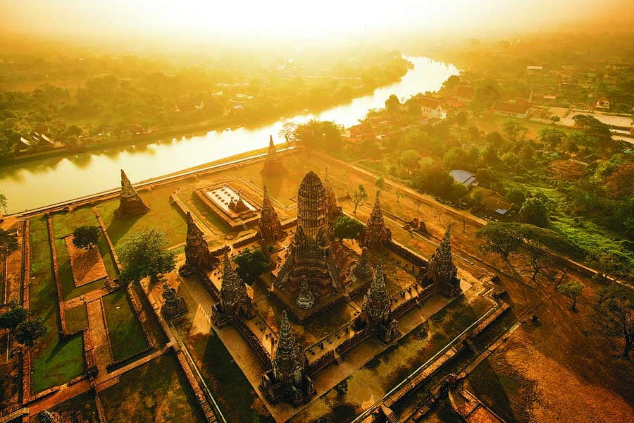 an aerial view of wat chaiwatthanaram at ayutthaya