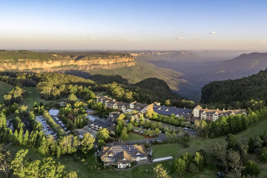 aerial view fairmont hotel and spa blue mountains nsw