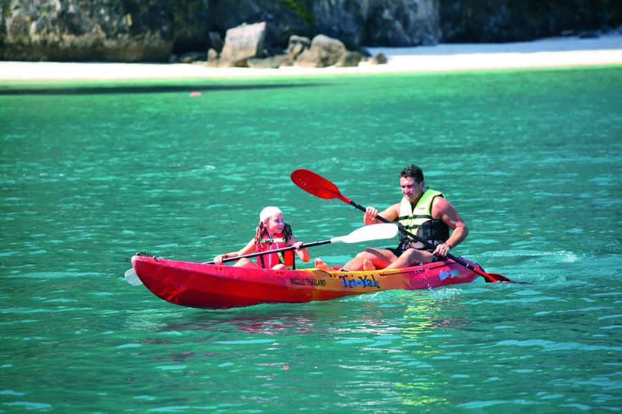 a father and daughter kayaking in phuket 1