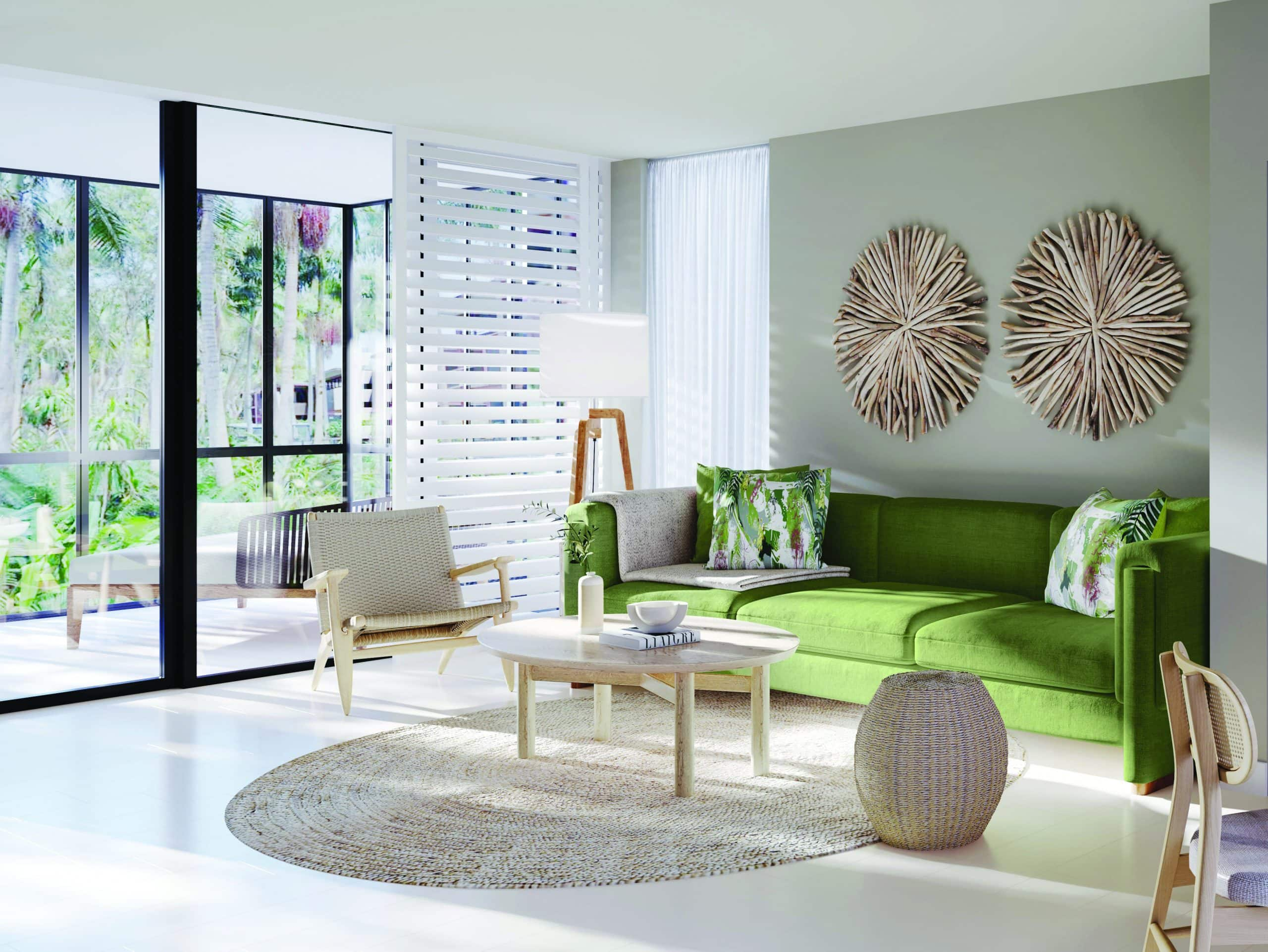 an artist impression of a rainforest luxe suite at byron at byron