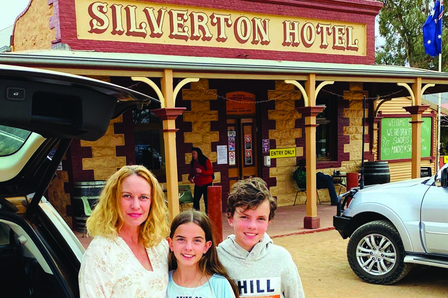 katrina and the kids outside the famous silverton hotel home of mad max and other film memorabilia