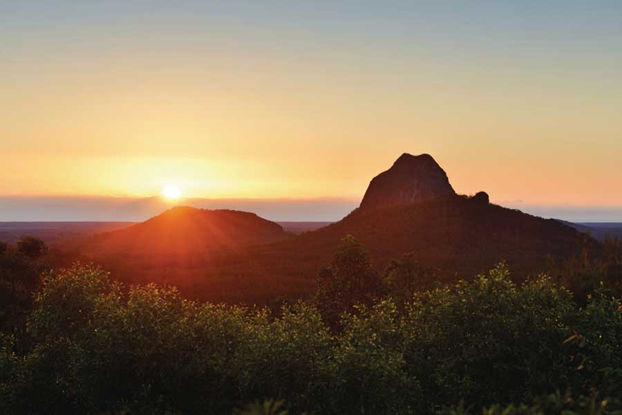 the glass house mountains. image tourism and events queensland