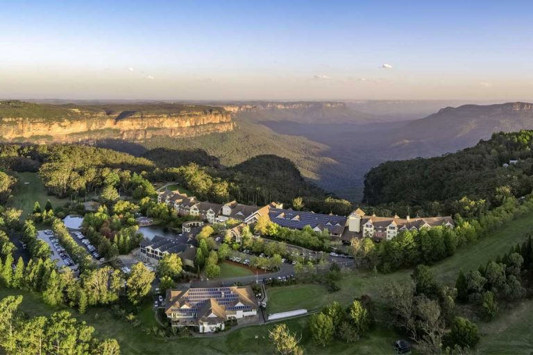 feature an aerial view of the fairmont resort and spa blue mountains