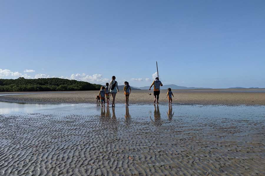 the family hunting for mud crabs