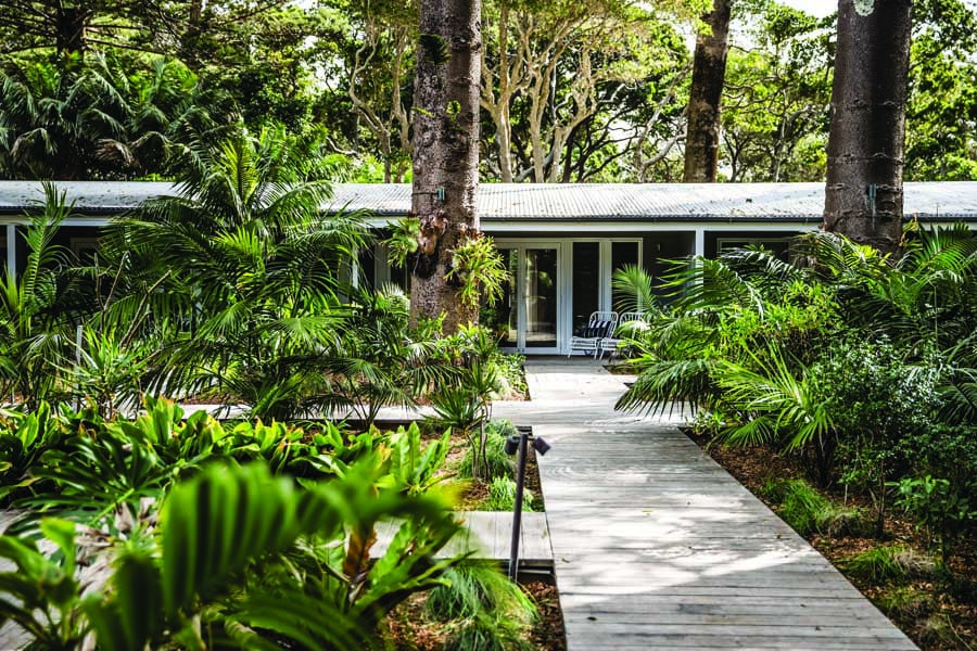 a boardwalk leading to rooms at pinetrees lodge. image nikki to