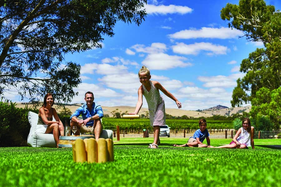 a family at jacobs creek winery in the barossa valley. image south australian tourism commission