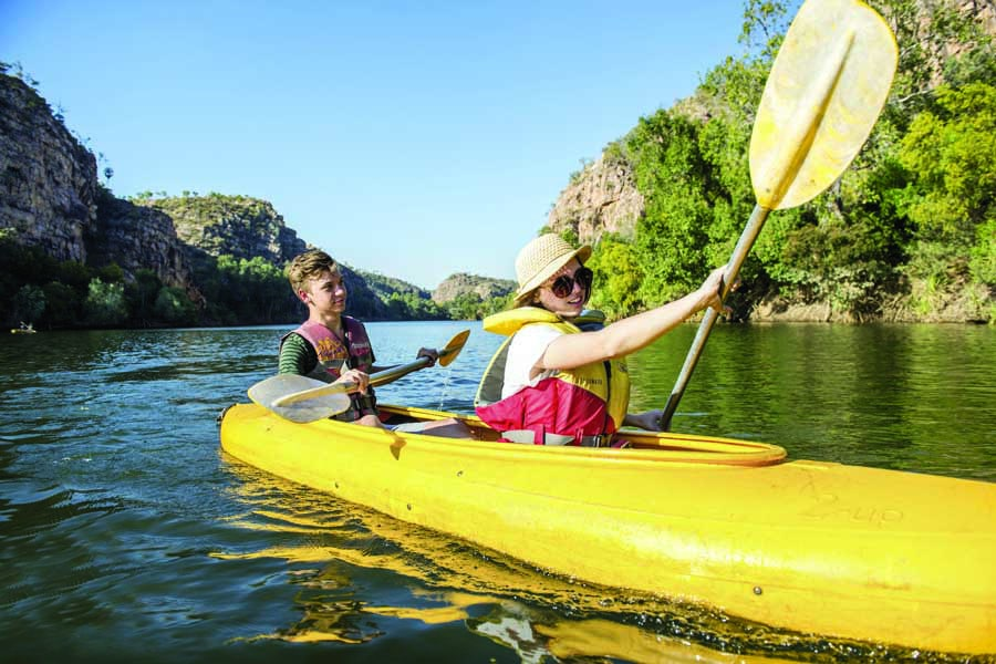 kayaking in nitmiluk gorge. image tourism nt shaana mcnaught