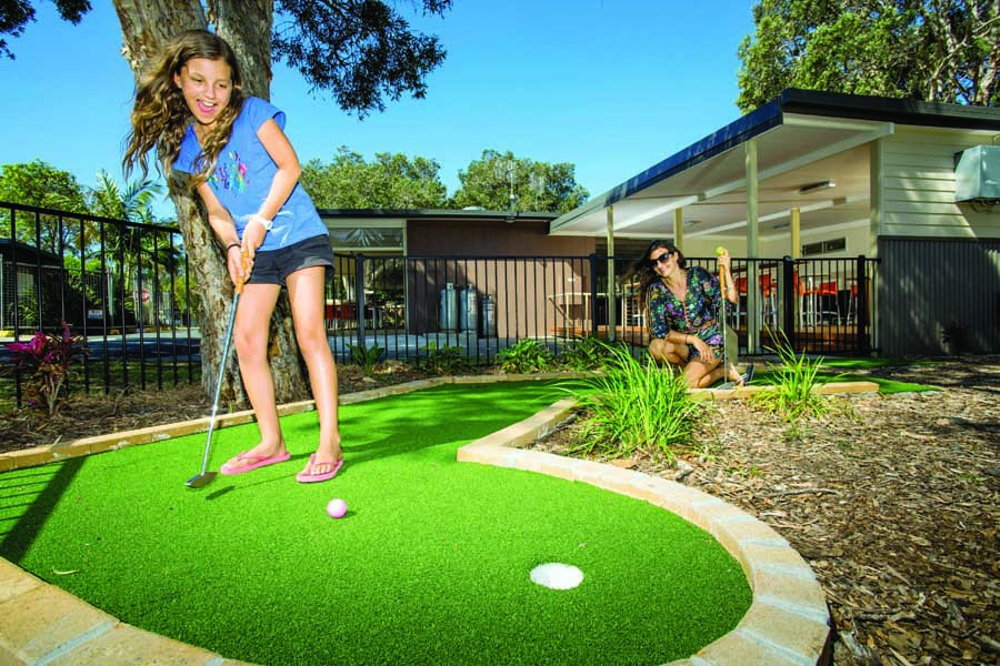 playing mini golf at a reflections holiday parks north haven
