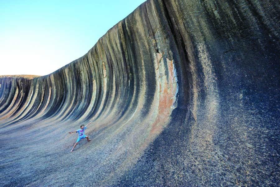 wave rock at hyden. image tourism western australia