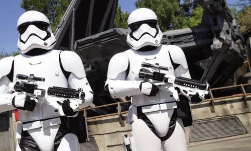 2 Stormtroopers at Star Wars Galaxys Edge Image Richard Harbaugh Disney Parks FEATURE