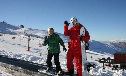 Alex learning to snowboard Cardrona