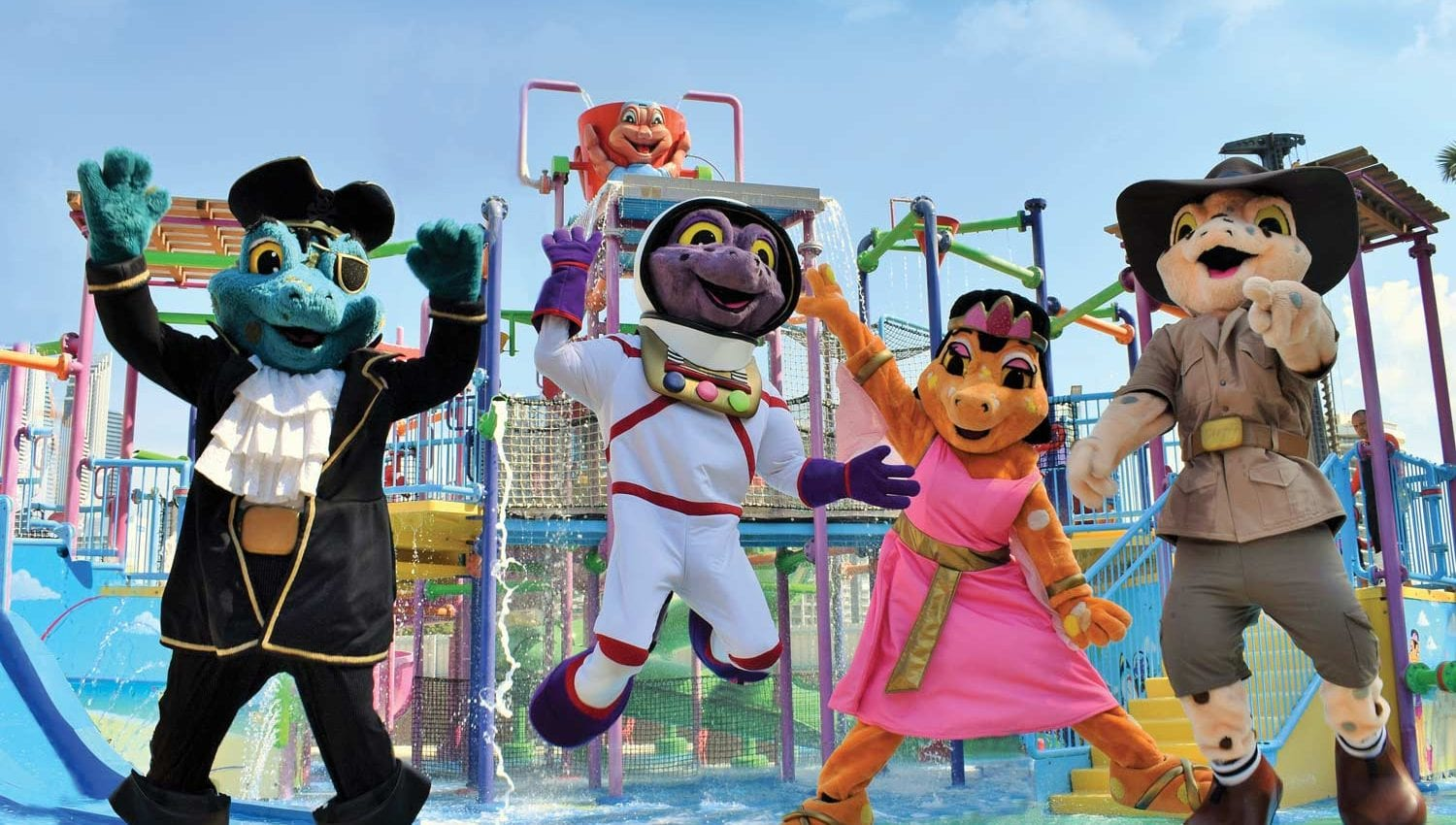 Characters in front of the water park Paradise Resort Gold Coast
