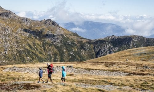 FEATURE A family hiking in the NSW Snowy Mountains