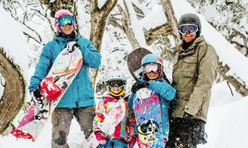 FEATURE A family in the snow at Perisher