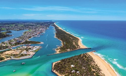 FEATURE An aerial view of Lakes Entrance