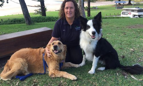 Moonee Beach Park Manager Kelly Shaw poses with some happy guests Alex left and Sally Right