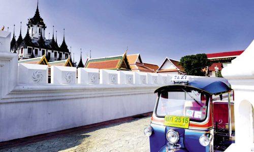 feature a tuk tuk at wat ratchanatdaram in bangkok