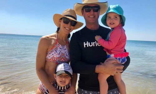 feature giaan rooney and her family on noosa beach
