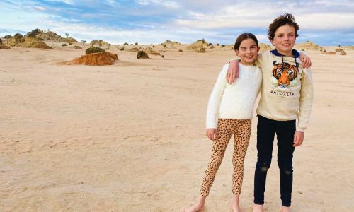 feature maya and remy waiting for the full moon to rise over mungo national park