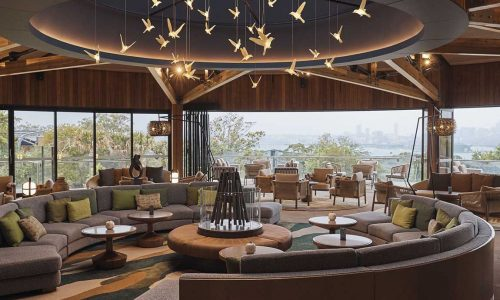 feature the reception area at wildlife retreat at taronga